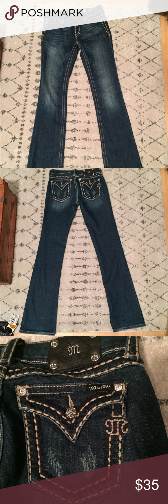 Miss Me dark wash boot cut jeans Worn twice, perfect condition! Miss Me Jeans Boot Cut