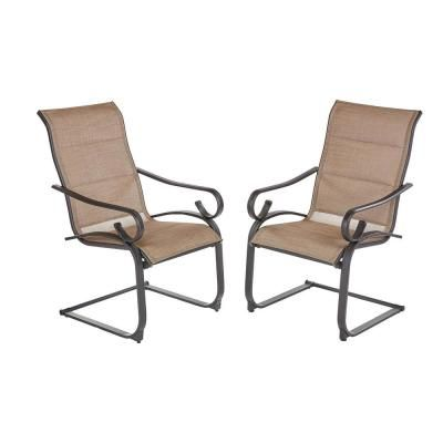 Hampton Bay Crestridge Steel Padded Sling C Spring Outdoor Patio Dining Chair In Putty Taupe 2 Pack Fcs60610r 2pk The Home Depot Lounge Chair Outdoor Patio Lounge Chairs Outdoor Chairs