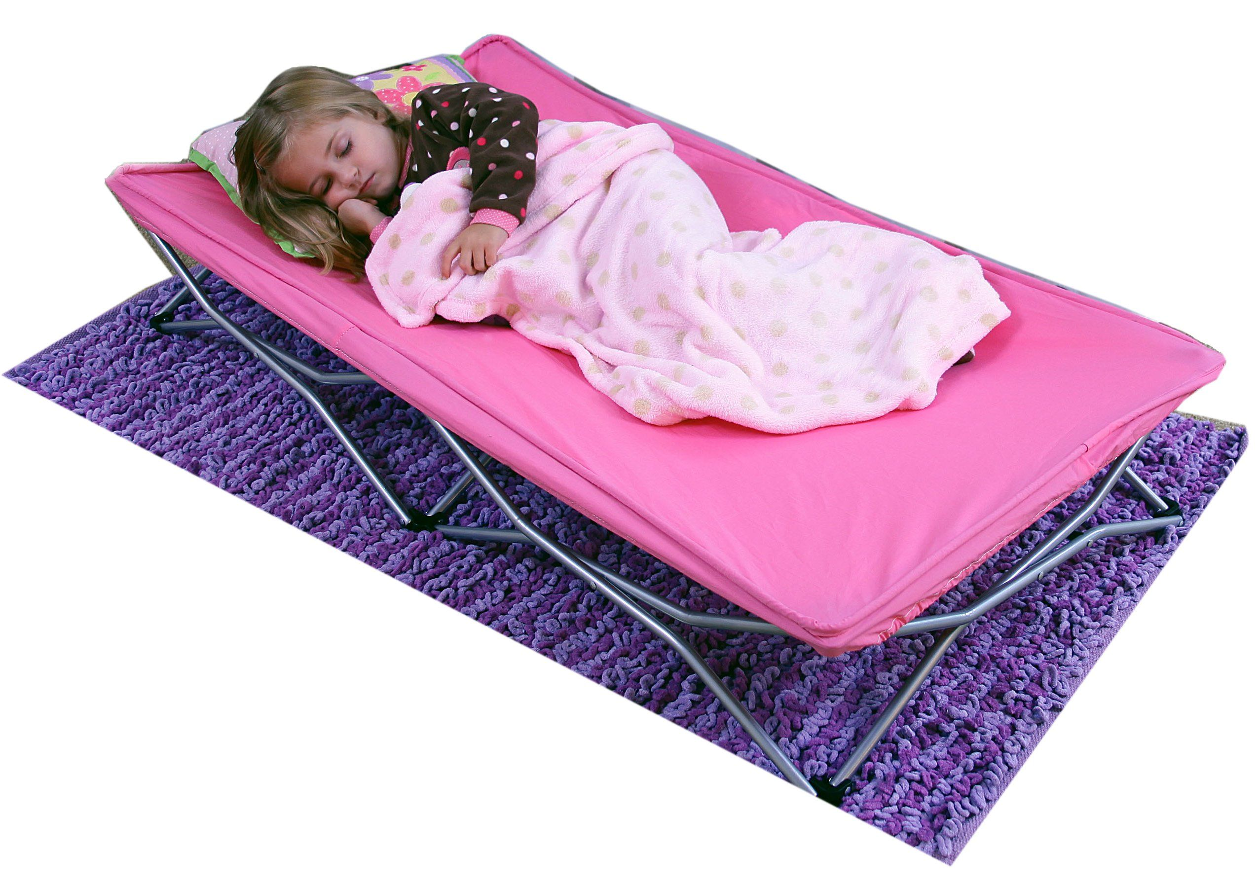 Color Pink The Regalo My Cot Is A Child S Size Portable Sleeping Cot With So Many Uses It S Great For The Home Portable Toddler Bed Toddler Cot Pink Bedding