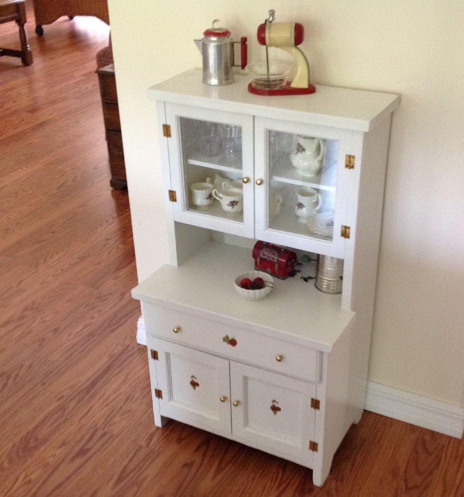 Vintage Child's Play Kitchen Cupboard / Hutch Wood Step