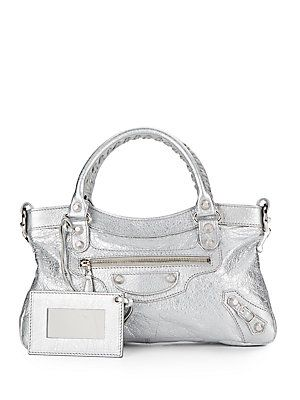 6976be0c95bb Balenciaga Metallic Leather Classic Mini City Bag - Silver - Size No ...