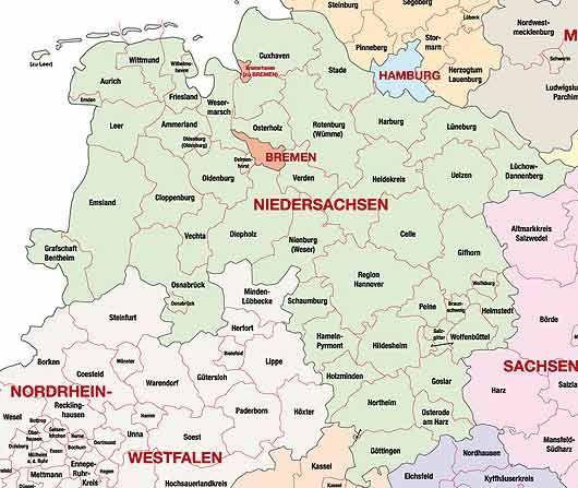 Niedersachsen Landkreise Karte Niedersachsen Landkarte