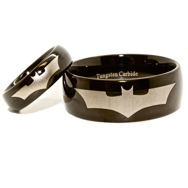 9995 Matching 6mm 10mm Batman Tungsten Wedding Ring Set perfect