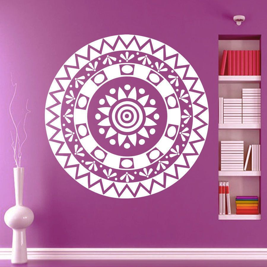 Mandala Om Yoga Flower Sign Wall Sticker Home Decor Wall Art Vinyl Wall Decals Decoration Mural