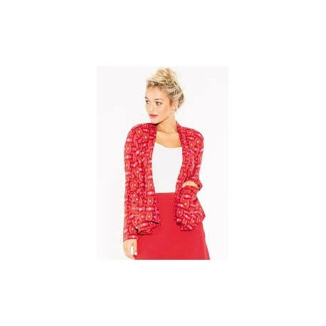 Boom Shankar Cotton/Lycra waterfall shaped short cardi in retro Squares pattern with patch pockets