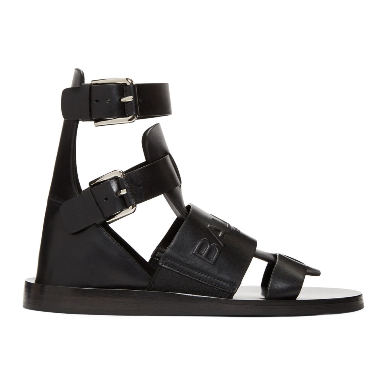 78b24ad28007 Balmain - Black Chris Embossed Logo Sandals Gladiator Sandals