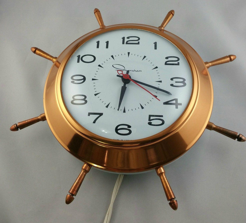 Vintage Ingraham Shipu0027s Wheel Clock, Nautical Clock, Electric Wall Clock,  Retro Wall Clock