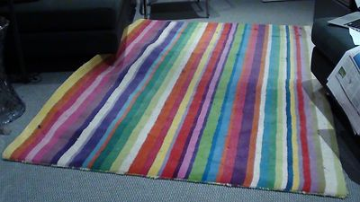 Cur Bid 19 99 Multicoloured Striped Rug Ikea Strib Ebay Collect From Hammersmith