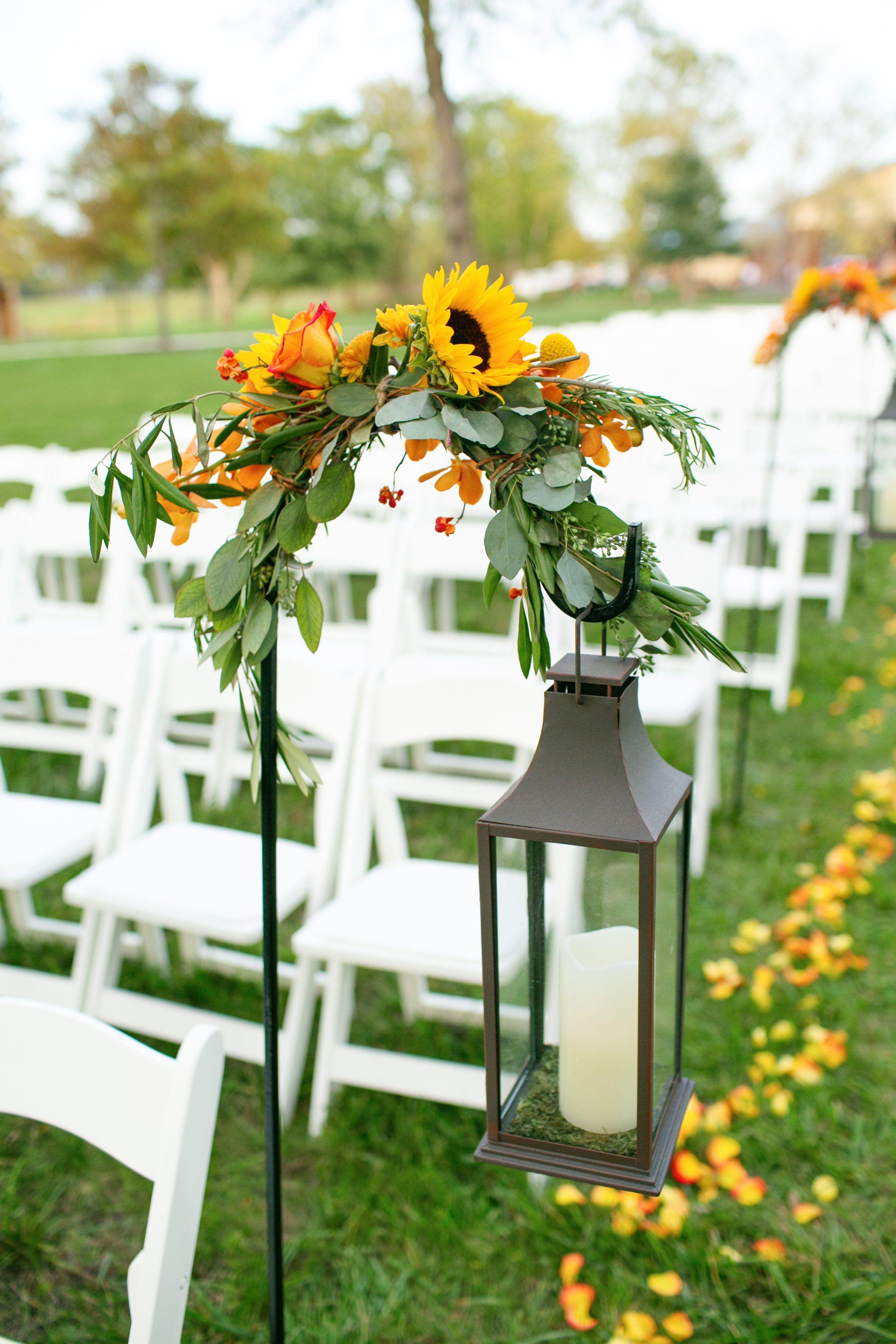 Lantern and Sunflower Decor Hannah's Wedding Pinterest