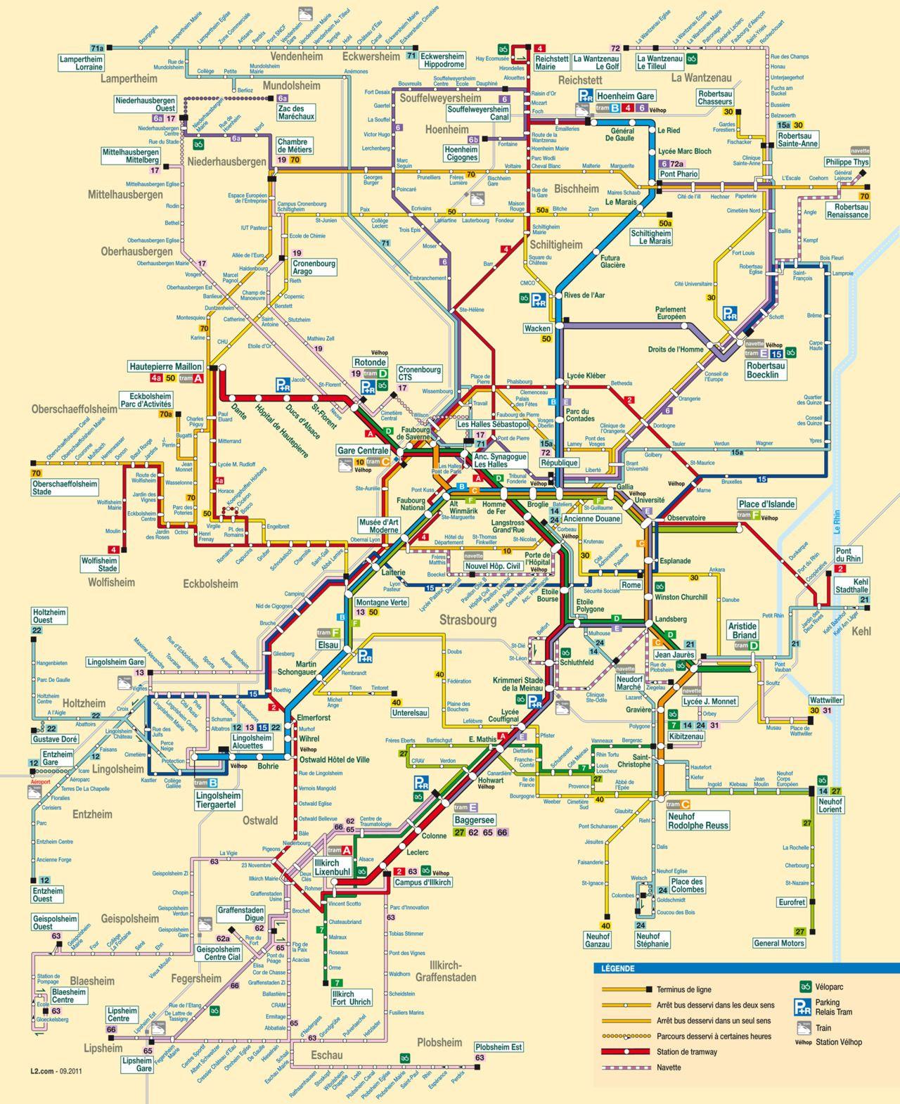 official map bus and tram network map strasbourg france. Black Bedroom Furniture Sets. Home Design Ideas