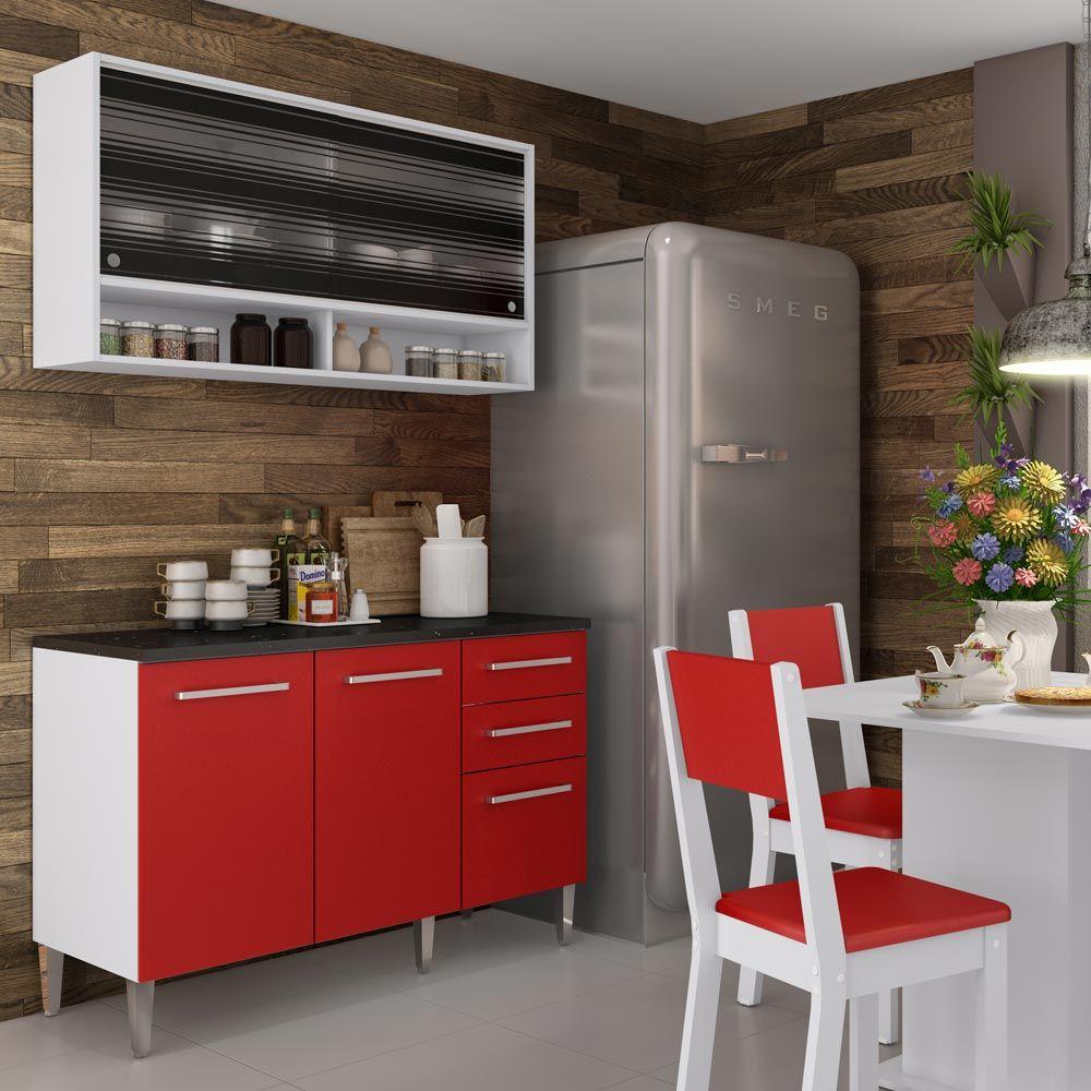 Gostou Desta Kit Cozinha Fresia Elis Glamy 03 Pe As Vermelho