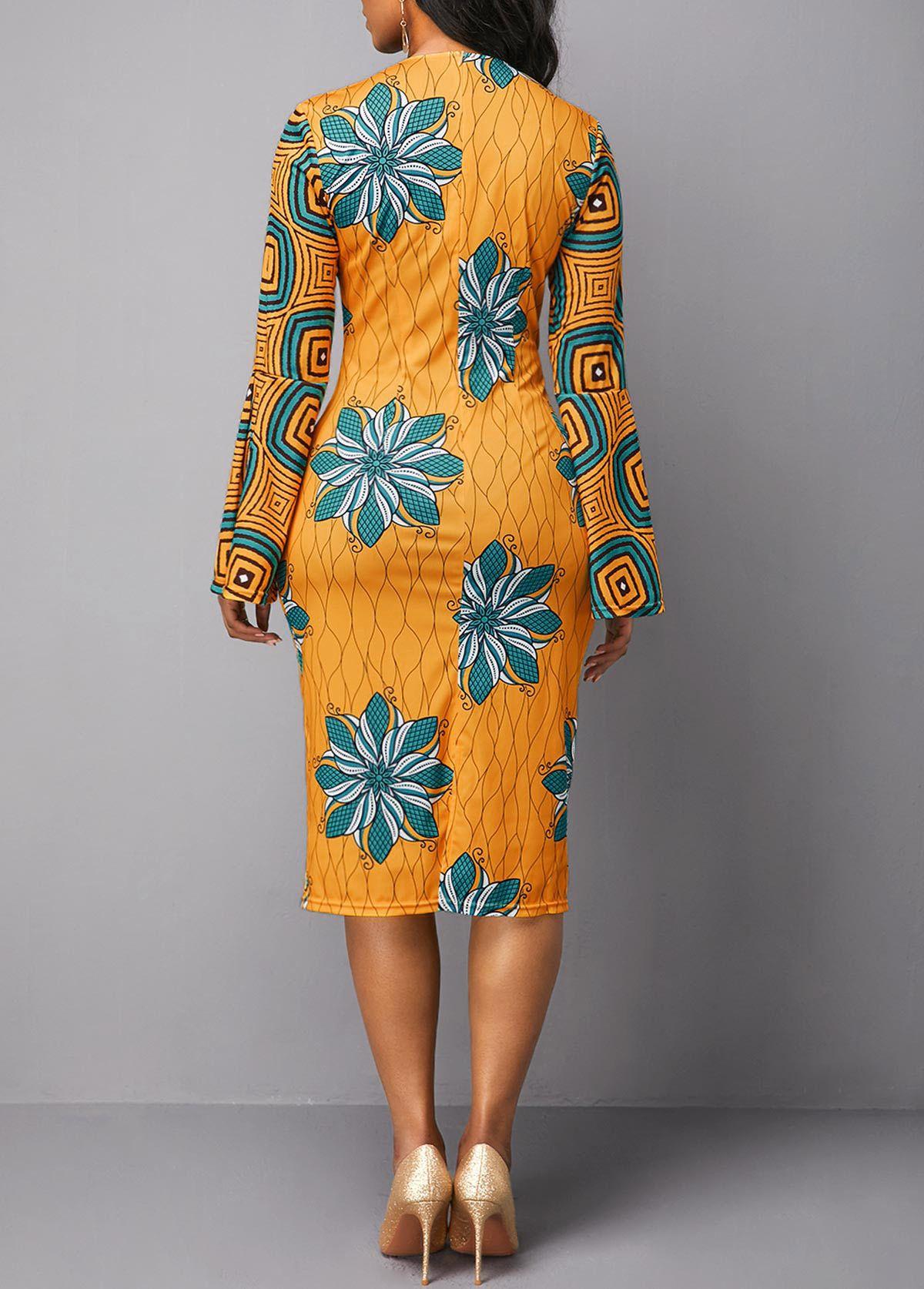 Flower Print Round Neck Flare Sleeve Yellow Dress  Rotita.com
