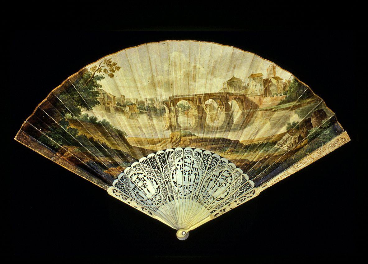 An 18th century fan showing a view of Rome
