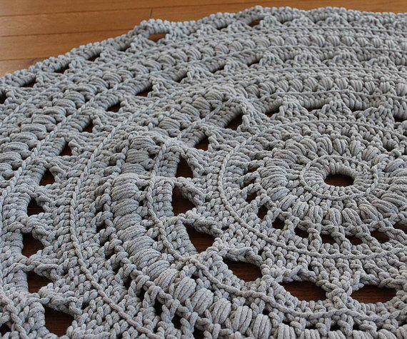 Ready To Ship 4ft 130cm Handmade Chunky Crochet Mega Doily Rug Light Grey Crochet Rug Patterns Doily Rug Crochet Rug