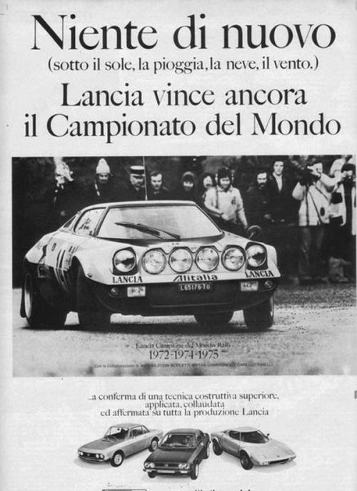 lanciastory:  Pubblicità Lancia Campione del Mondo Rally