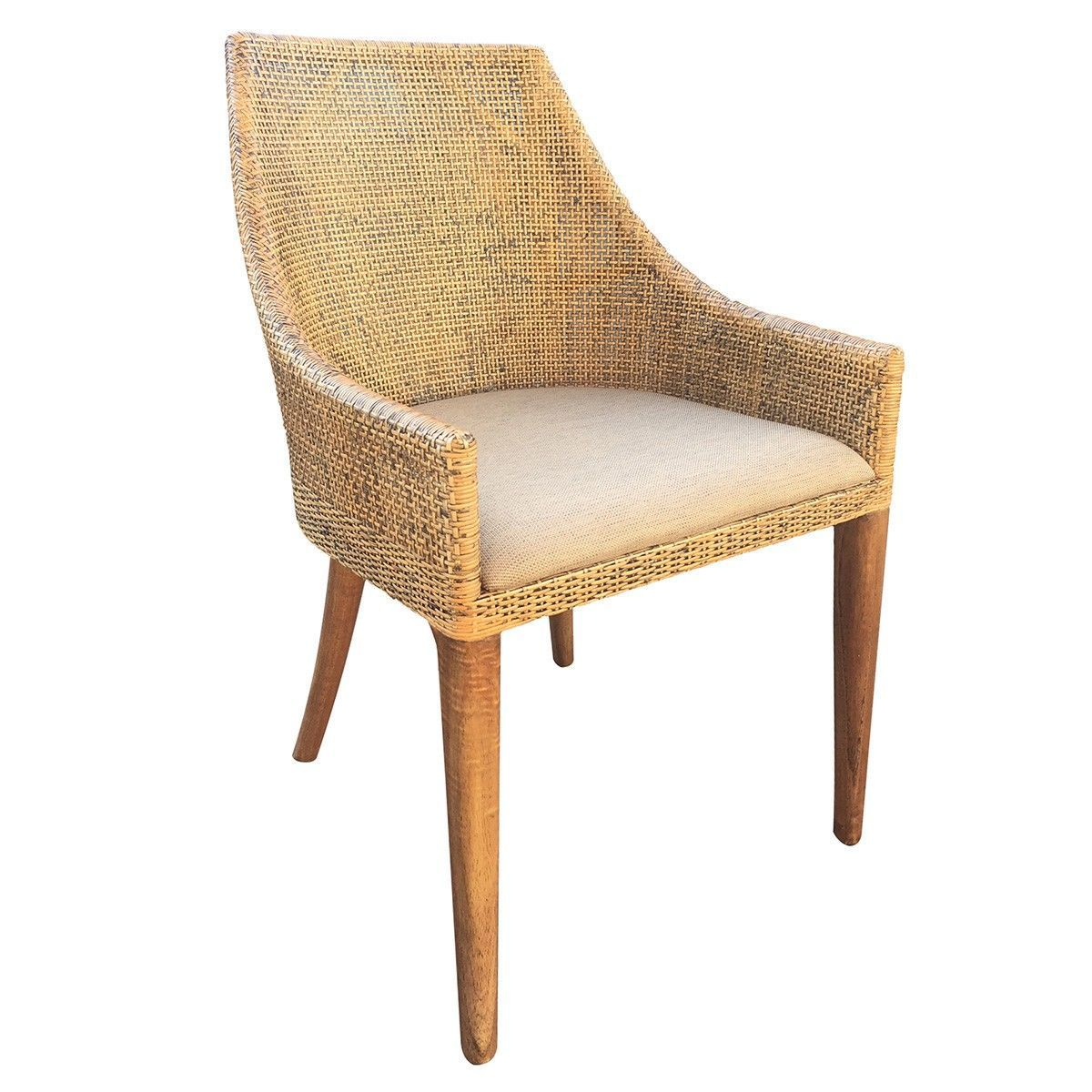 """Tennessee"" Rattan Side Chair with cushion in Potato"