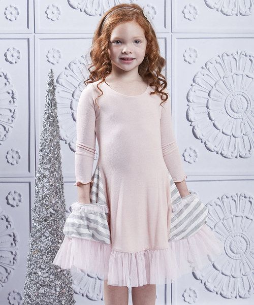 Rich with ruffles and topped with pretty ribbon, this dress also boasts a pair of side pockets sporting high-spirited stripes. It's crafted with a hint of stretch, making it easy to wear and love. Dress: 95% cotton / 5% spandexTrim: 100% polyesterHand wash; hang dryMade in the USA
