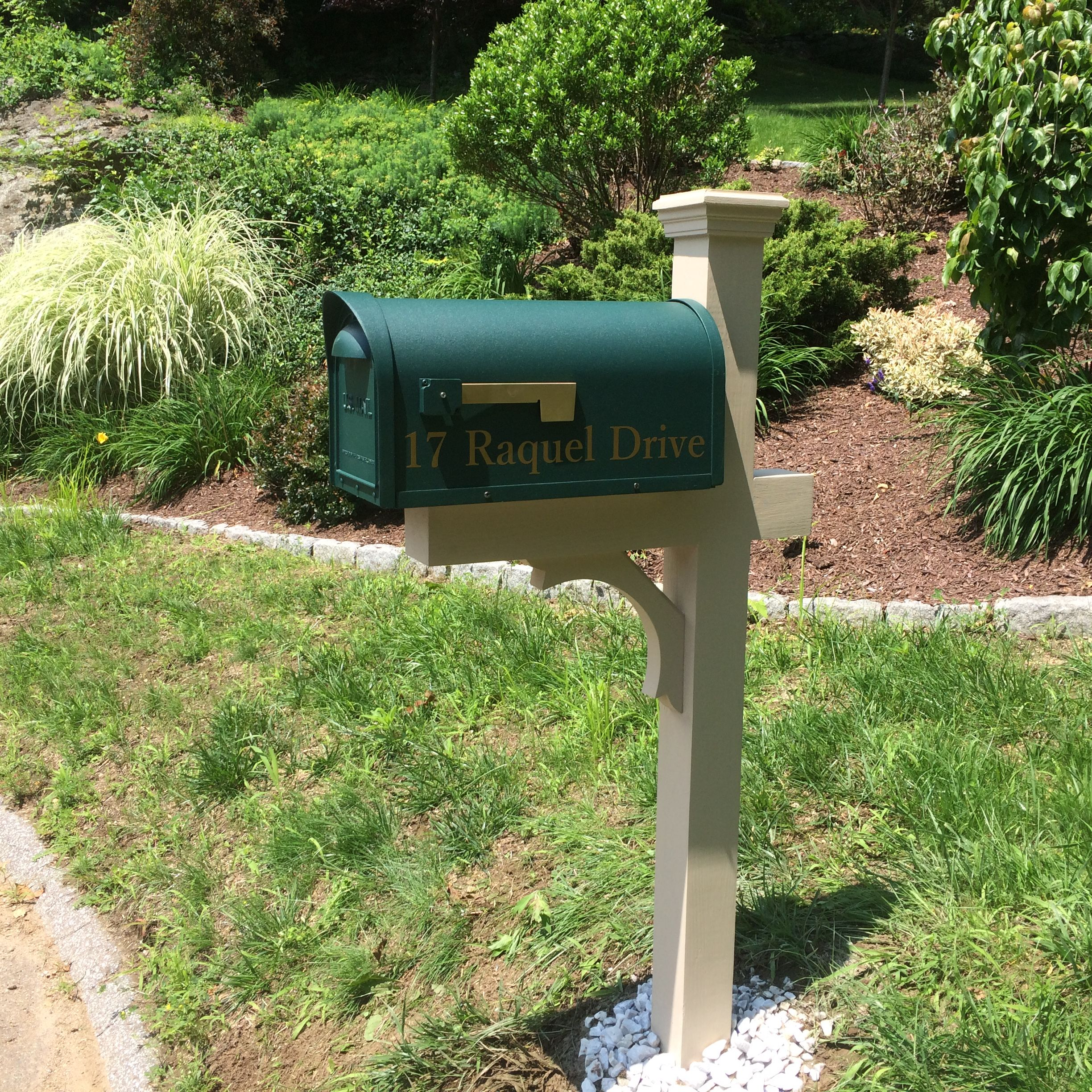 aluminum mailbox post. Our Decorative Post In Beige With A Aluminum Mailbox