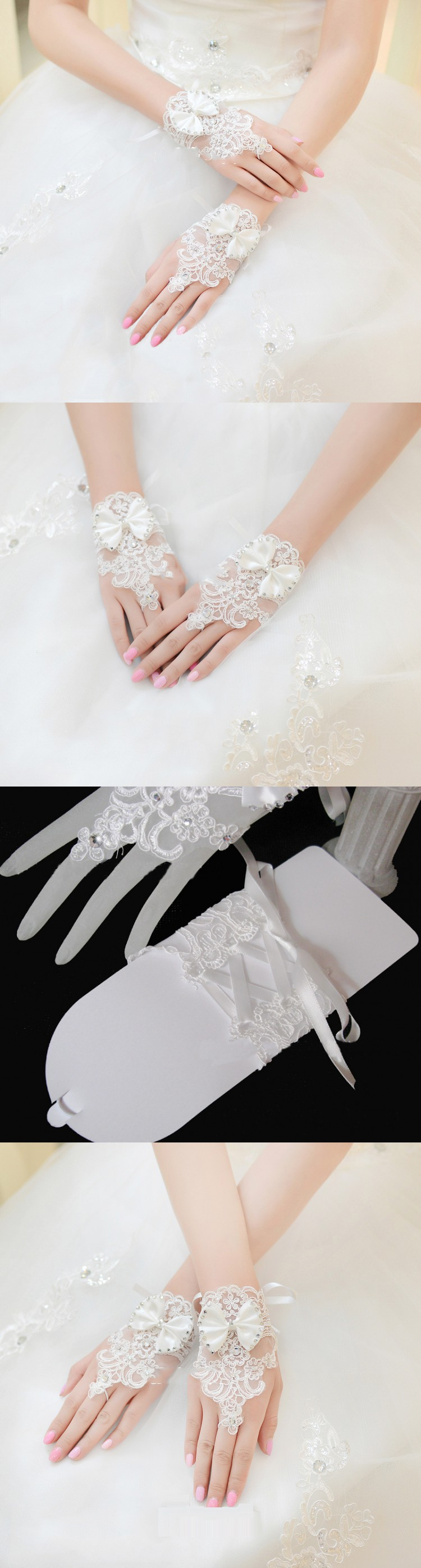 korean fashion wrist flower lace diamond bridal gloves wedding