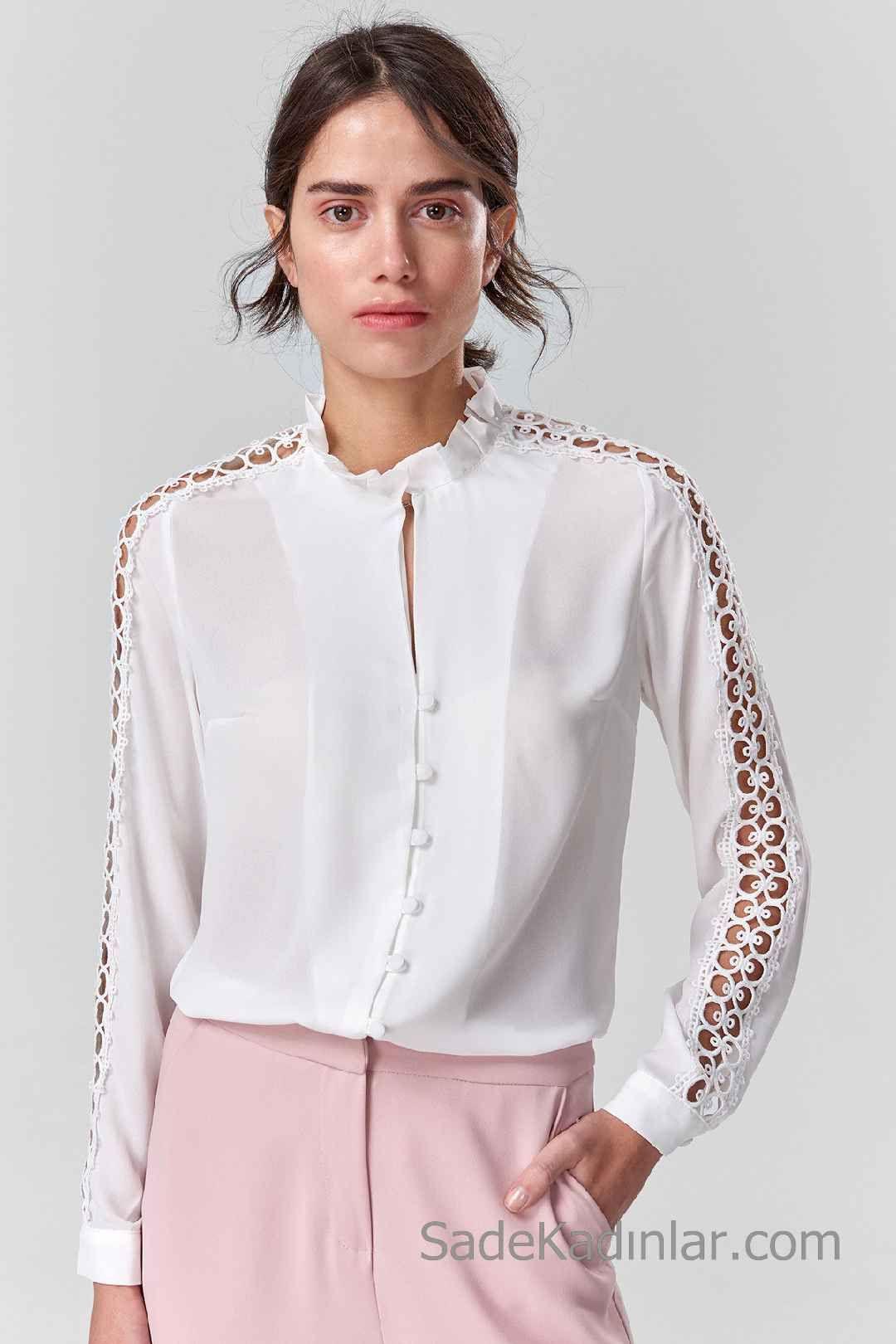 2020 Beyaz Gomlek Modelleri Firfirtli Yaka Onden Dugmeli Uzun Kol Dantelli Moda Stilleri Gomlek Yeni Moda