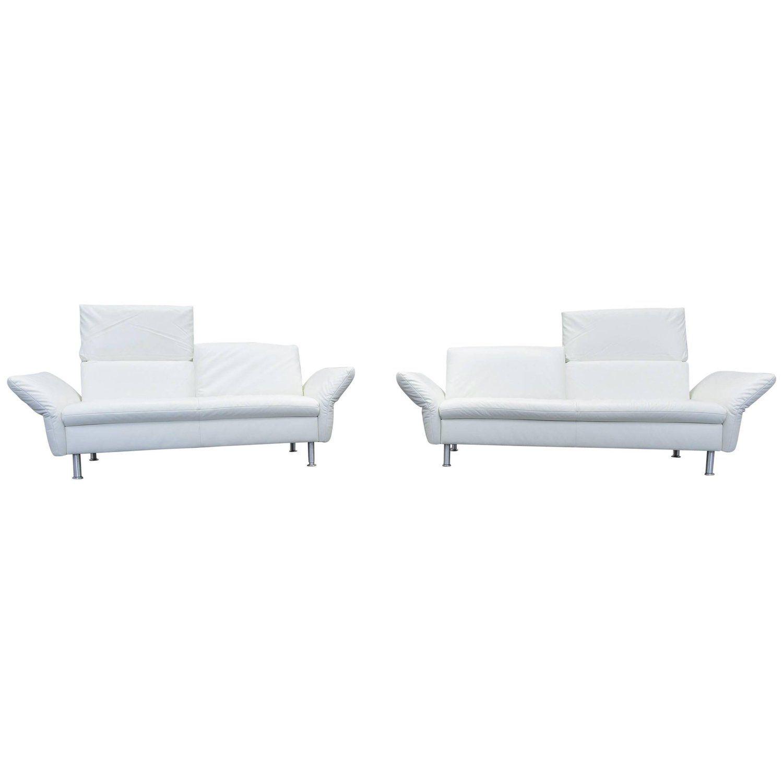 Koinor Vista Designer Sofa Set Leather White Three Seat Couch