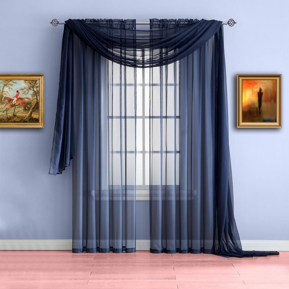 Warm Home Designs Pair Of Indigo Navy Blue Sheer Curtains Or