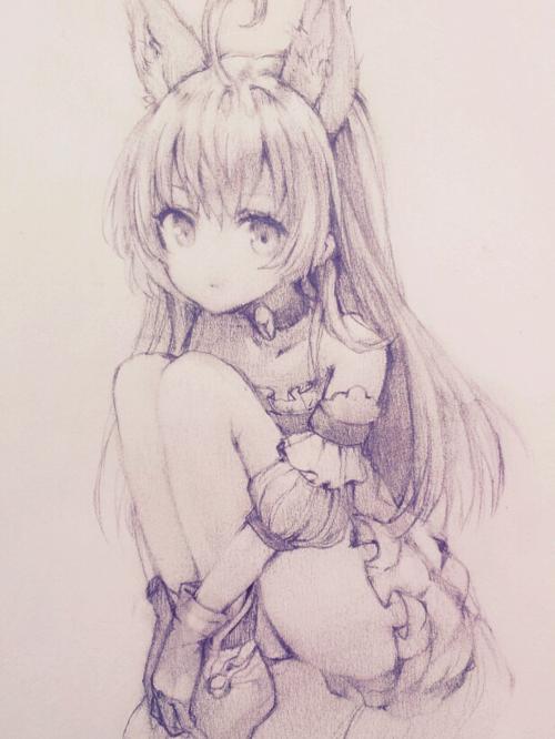 Anime Art Anime Girl Dog Ears Kitsune Fox Girl