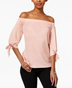 Bar Iii Off-The-Shoulder Hammered-Satin Top, Only at Macy's - Pink XXS