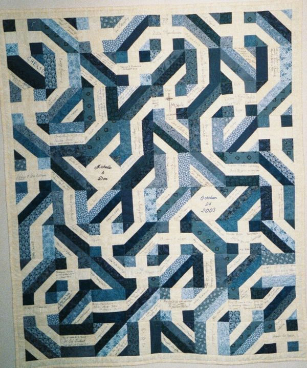 Wedding Signature Quilt - 9 patch, rail fence and strip block can ... : wedding signature quilt - Adamdwight.com