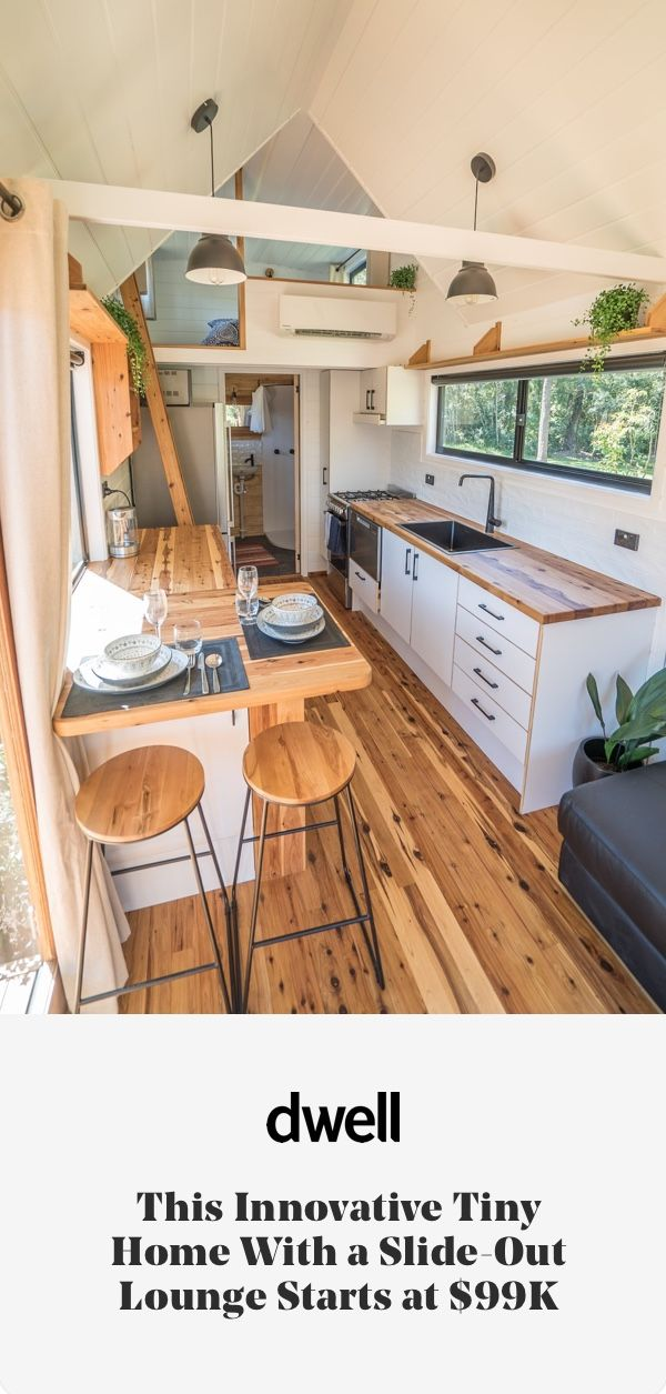 This Innovative Tiny Home With a Slide-Out Lounge Starts at $99K #dwell #tinyhome #homeforsale #tinyhomesforsale