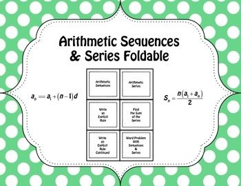 Arithmetic Sequences  Series Foldable  Arithmetic Math And Algebra