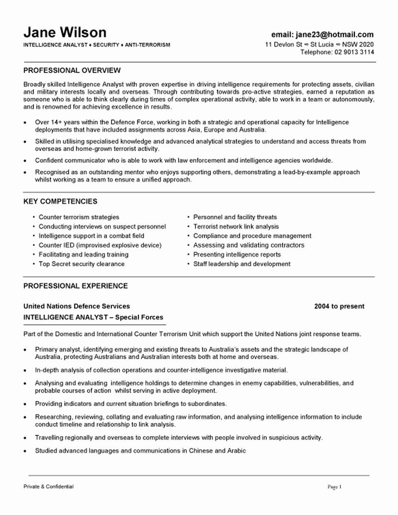 Cyber Security Analyst Resume Best Intelligence Analyst