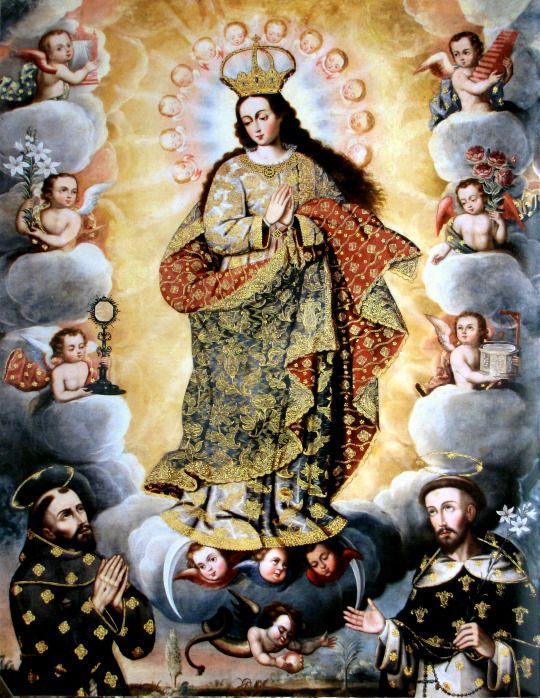 Anonymous, Immaculate Conception with St Francis and St Dominic, 17th century, oil on canvas, Convento de Santo Domingo, Cuzco.