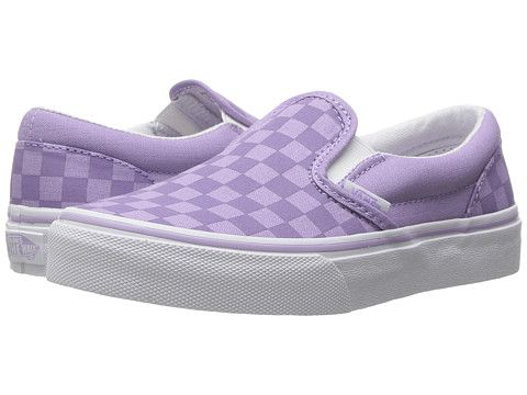 3a242c99fe9 Vans Kids Classic Slip-On (Little Kid Big Kid) (Tonal Check) Lavender -  zappos.com