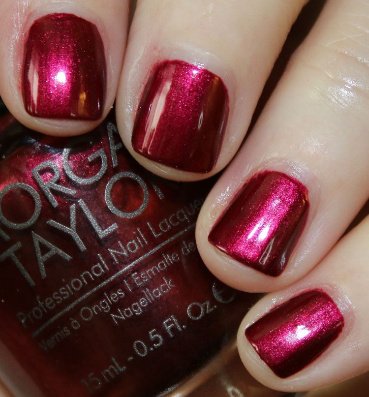 Morgan Taylor Gifted with Style Holiday 2015 Collection | Vampy Varnish / I'm So Hot is a burgundy red shimmer