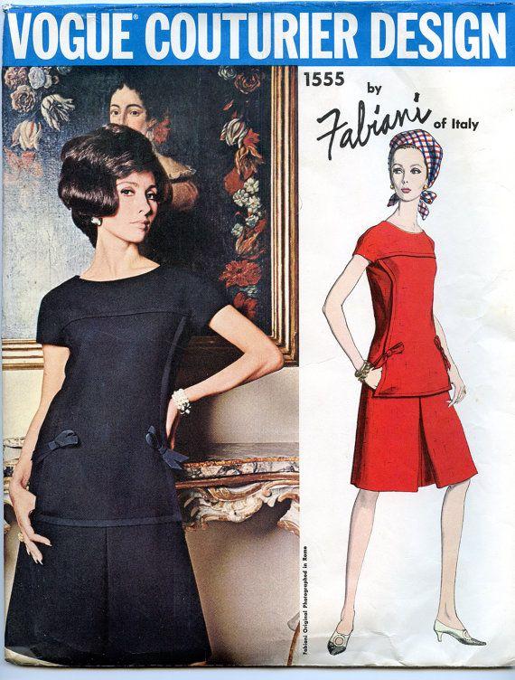Años 60 Sewing Pattern Vogue Couturier Fabiani 2148 Vestido B34.