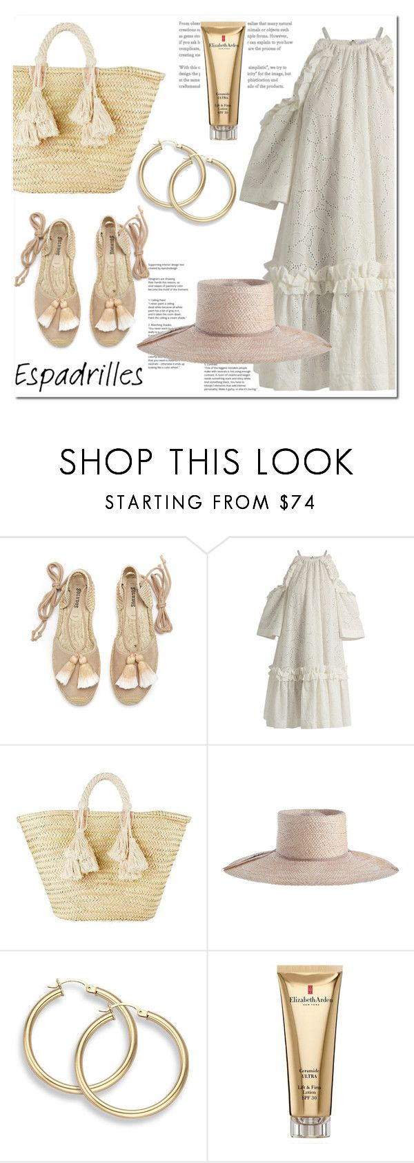 """""""Espadrilles"""" by ilona-828 ❤ liked on Polyvore featuring Soludos, MSGM, Giselle, Zimmermann, Elizabeth Arden, Summer, espadrilles and polyvoreeditorial"""