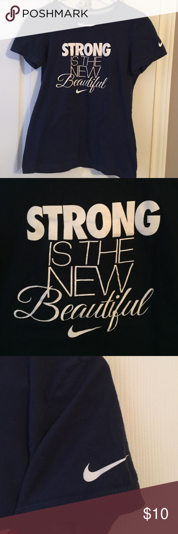 Strong is the New Beautiful T-Shirt Perfect for working out! Navy blue, Nike shirt. Nike Tops Tees - Short Sleeve