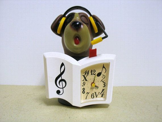 Vintage Barking Singing Dog Dj Alarm Clock By That70sshoppe 65 00 Vintage Clock Alarm Clock Vintage