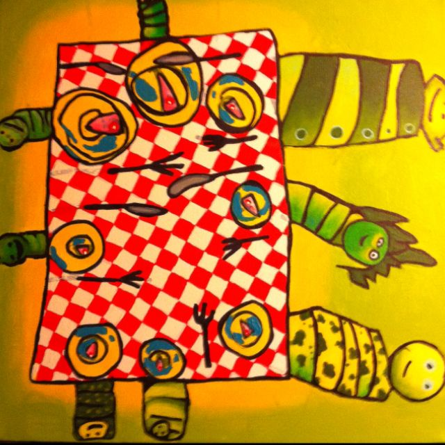 Breakfast for caterpillars, drawing by my five year old daughter, colored by me.