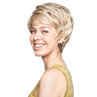 Capless Short Synthetic Light Blonde Curly Hair Wig – WigSuperDeal.com
