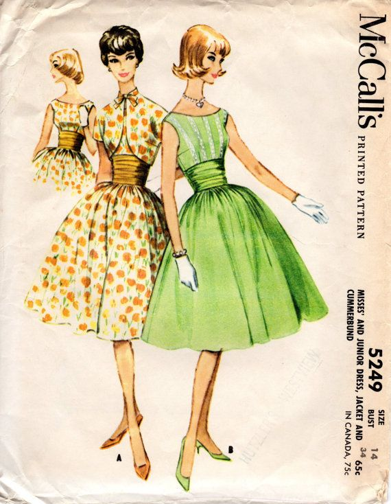1950s Fit and Flare Dress Pattern - Vintage McCall\'s 5249 - Bust 34 ...