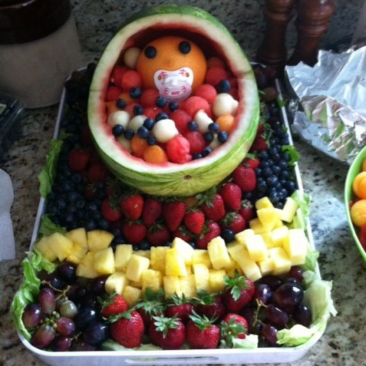 How to make baby bassinet watermelon fruit bowl | Party & Gift ideas ...