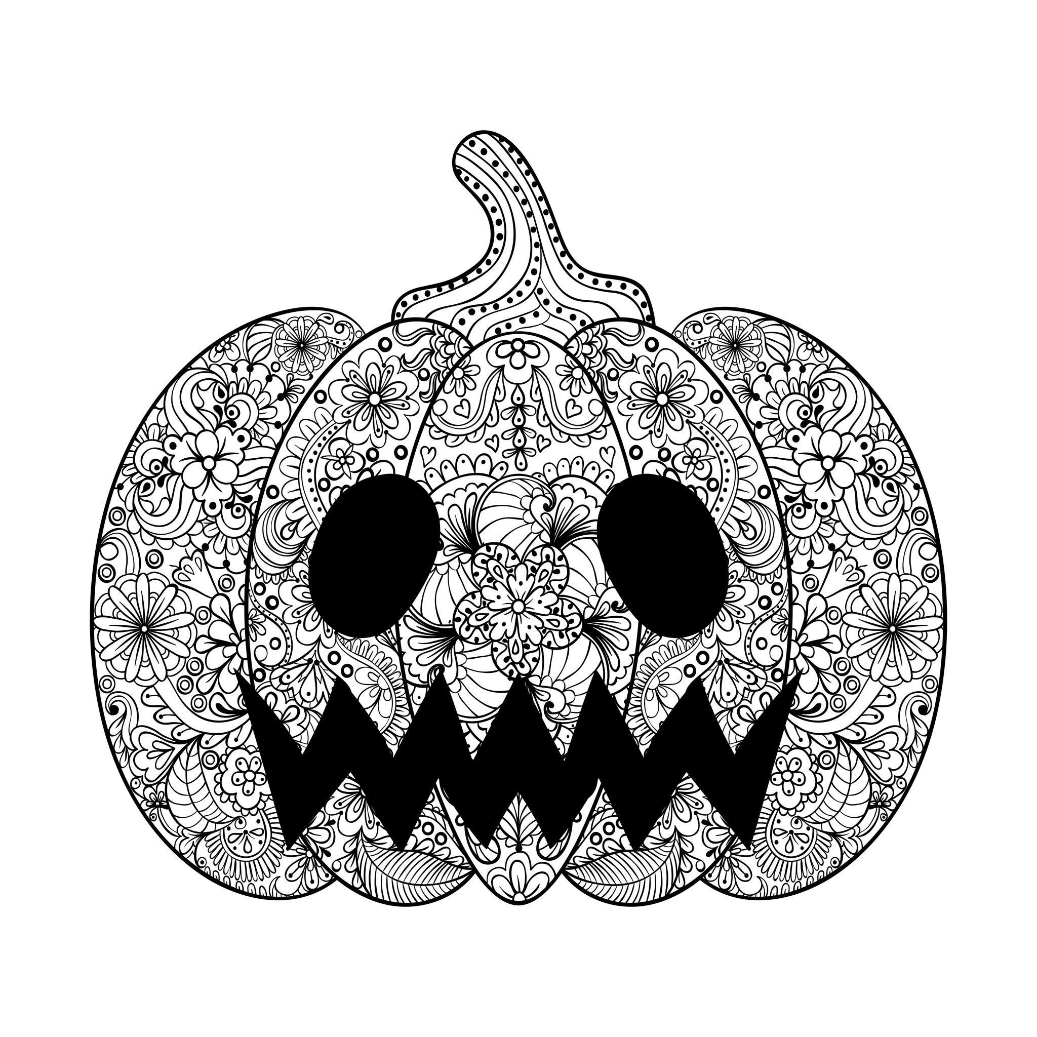 Pumpkin illustration, an Halloween coloring page drawn in Zentangle ...