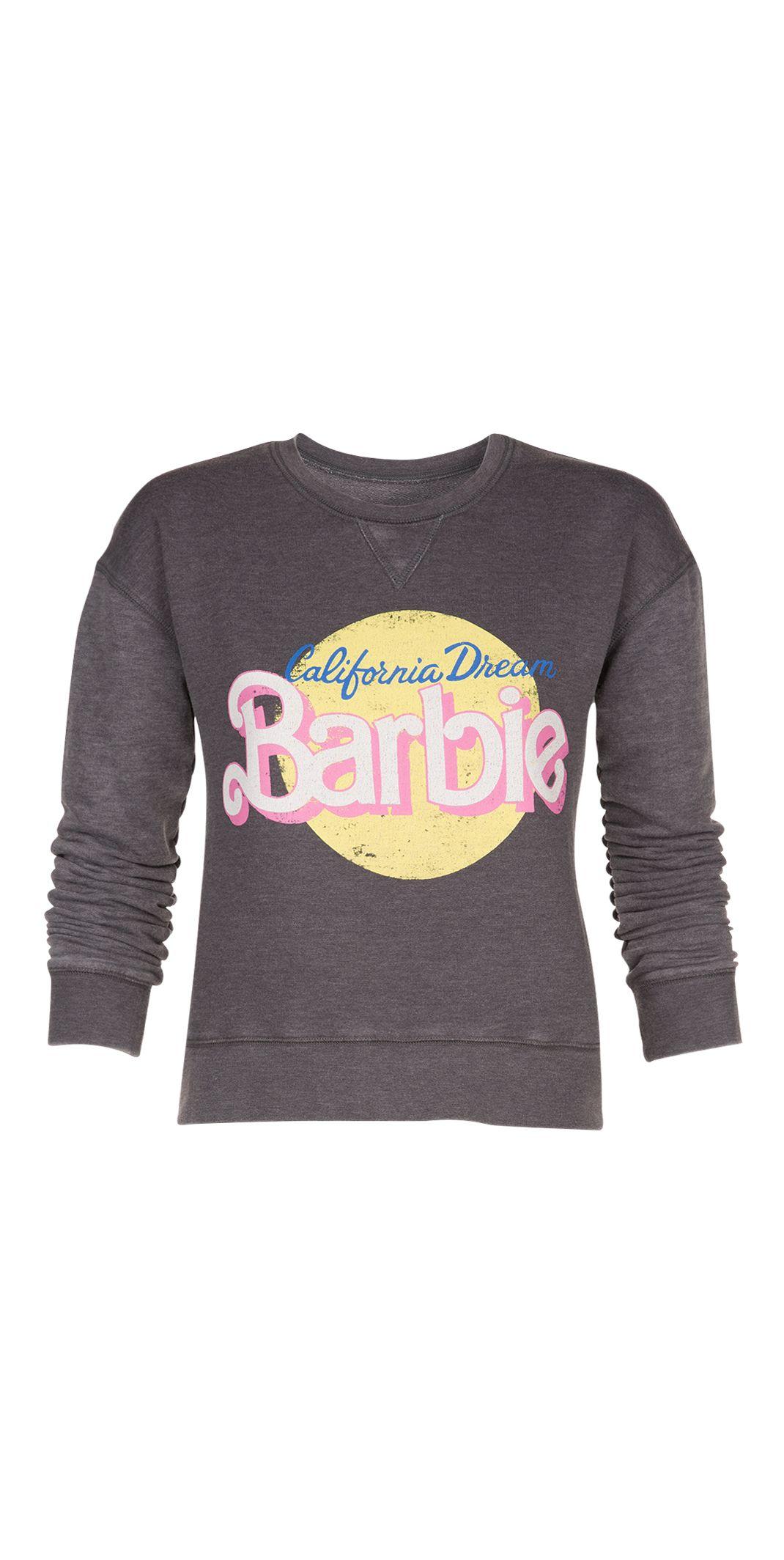high quality release date: newest Undiz - Sweat gris délavé printé Barbie jaune et rose ...