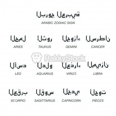 Arabic Zodiac Characters Silhouette Icons