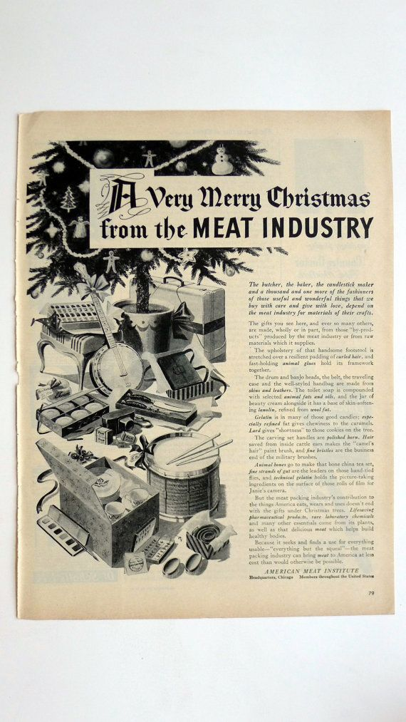 1945 LIFE Magazine American Meat Institute Christmas Ad - vintage magazine ad framable