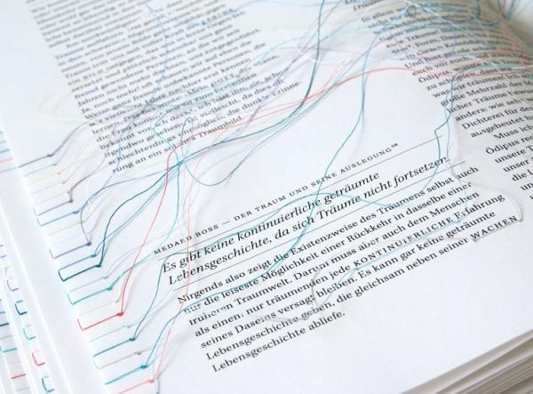 Traumgedanken: A physical hyperlink book by Maria Fischer web sculpture embroidery books