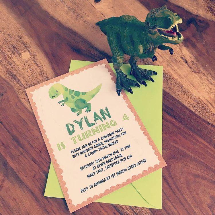 Dinosaur Themed Children\'s Birthday Party Invitations. Personalised ...