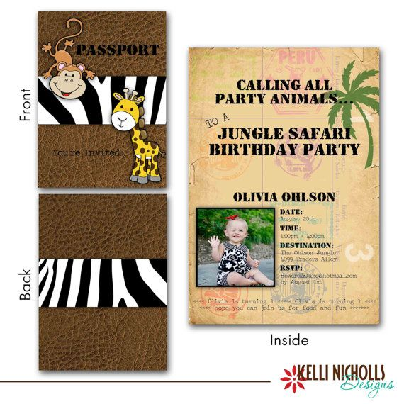 Custom Jungle Safari Passport Birthday Party Invitation Childrens Invite On Etsy 1700